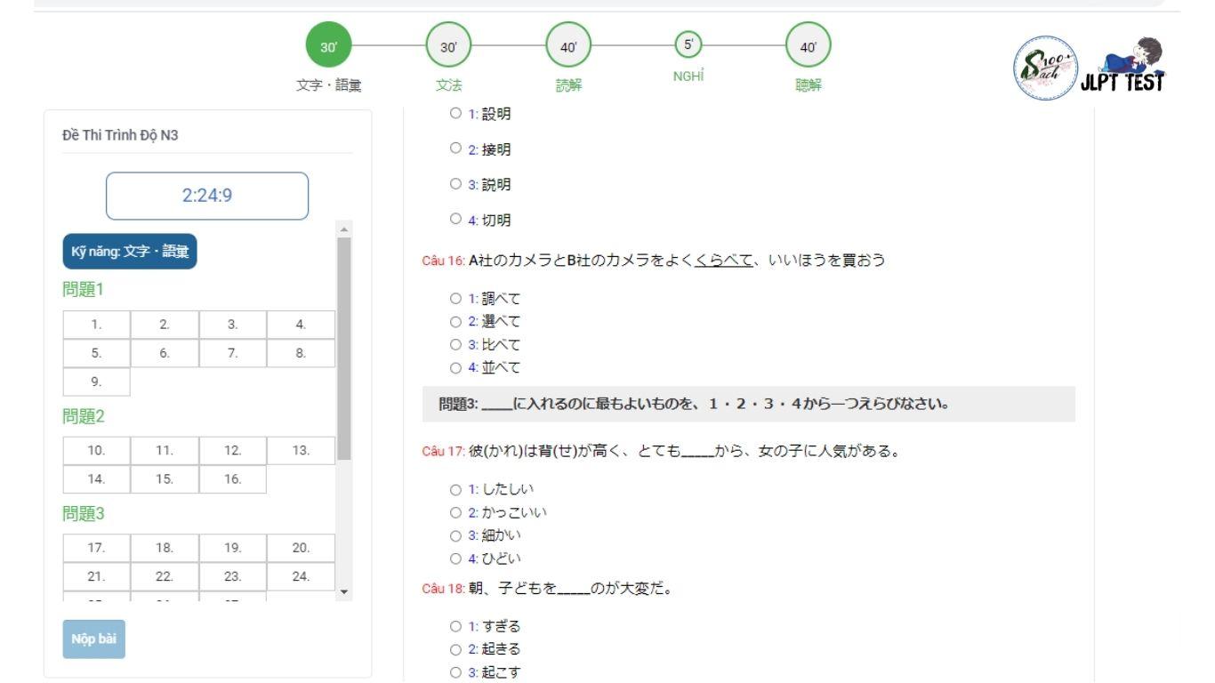đề thi n3 online